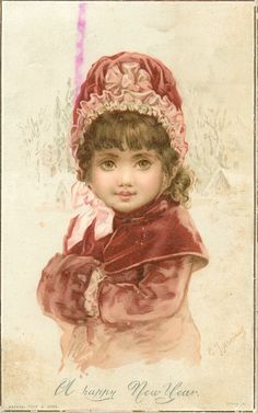 girl in red coat, cape, hat and muff