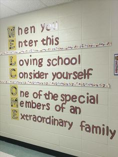 "In this display at educator school, ""W"" is for warmth, walls and welcoming students. School Hallway Decorations, School Entrance, School Hallways, School Murals, Hallway Ideas, School Leadership, School Counseling, School Bathroom, Classroom Quotes"