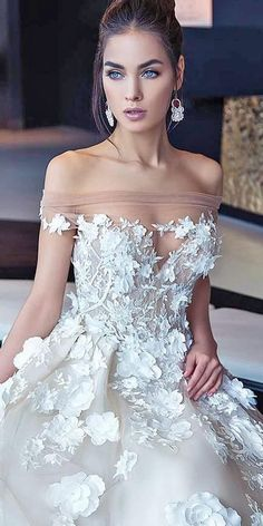 21 Floral Wedding Dresses For Magic Party ❤️ floral- wedding dresses lorenzo rossi off the shoulder sweetheart 2017 ❤️ Full gallery: https://weddingdressesguide.com/floral-wedding-dresses/ #weddingdress