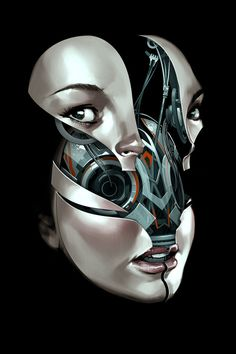 segmented cyborg face painted by billy nunez Cyborg Girl, Female Cyborg, Draw Tips, Alex Solis, Science Fiction, Statues, Cyberpunk Kunst, Illustrator, Arte Robot