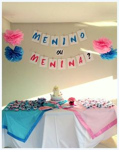 festa simples e barata Ideas Para Fiestas, Baby Shower Gender Reveal, Reveal Parties, Baby Party, Cake Decorating, Birthday Cake, Creative, Suzy, Pregnancy