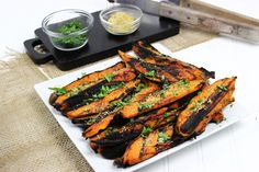 Smoky on the outside but sweet and tender on the inside! Food Fanatic's wonderful wedges of grilled sweet potatoes is a good accompaniment to any meal. The cilantro lime dressing adds depth and dim...