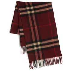Burberry Giant Check Cashmere Scarf ($395) ❤ liked on Polyvore featuring accessories, scarves, fillers, burberry, fringe scarves, fringed shawls, cashmere scarves y cashmere shawl