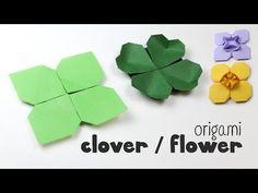 Origami Clover / Flower Instructions DIY Paper Kawaii - YouTube
