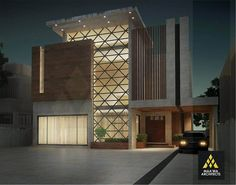 Contemporary Residence at Park View by Maa'wa Architects- 1 kanal House Render Art, Architecture Building Design, Residential Architecture, Architecture Magazines, House Architecture, Modern House Facades, Modern House Plans, Contemporary Building, Contemporary Architecture