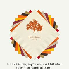 Fall Wedding Cocktail or Luncheon Napkins  by PineAndBerryShop