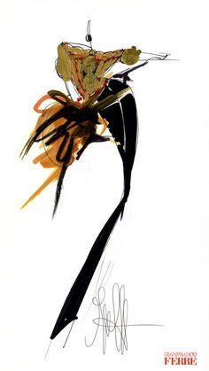 Fondazione Gianfranco Ferré / Collections / Woman / Prêt-à-Porter / 1989 / Fall / Winter Fashion Illustration Sketches, Fashion Sketches, Drawing Sketches, Illustration Art, Drawings, Moda Fashion, Fashion Art, Figure Sketching, Gianfranco Ferre