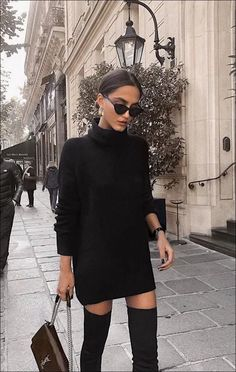 black turtleneck sweater dress with over the knee boots. Visit Daily Dress Me at. - - - black turtleneck sweater dress with over the knee boots. Visit Daily Dress Me at… – , Source by michellenobody All Black Fashion, Look Fashion, Classy Fashion, All Black Outfits For Women, All Black Clothing, All Black Business Casual Outfits, All Black Style, Winter Business Casual, Black On Black Outfits