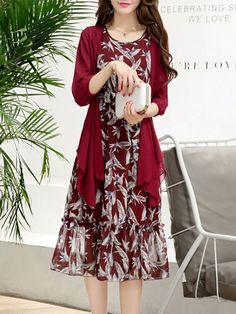 Buy Round Neck Chiffon Ruffled Hem Printed Two-Piece Maxi Dress online with cheap  prices and discover fashion Maxi Dresses at Fashionmia.com. e826a7b94