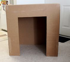 Fireplace mantel from cardboard box | Since the box was pretty wide, and I didn't want it to take up too ...