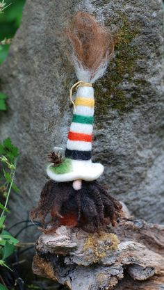 "Needle Felted Gnome-Forest Gnome, Camp Blanket Gnome, Gnome Soft Sculpture, Woodland Gnome - ""Fernwood Forager"" by FernwoodFelting on Etsy"