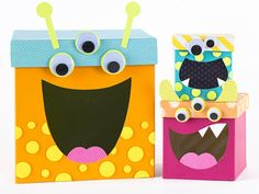 from tiny treat boxes and boutique-worthy packages to trendy recipe holders and stylish storage sets, there's a paper mache box for every occasion and need Monster Birthday Parties, Birthday Box, Monster Party, Paper Mache Boxes, Paper Mache Crafts, Crafts To Do, Fall Crafts, Christmas Crafts For Kids, Holiday Crafts