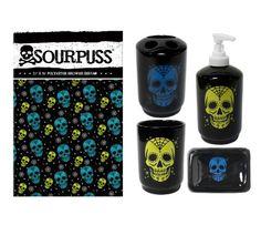 Sourpuss Sugar Ink Shower Curtain and Bath Set Sourpuss http://www.amazon.com/dp/B00FLL5PQM/ref=cm_sw_r_pi_dp_YXdWtb1W8FGVFPB3