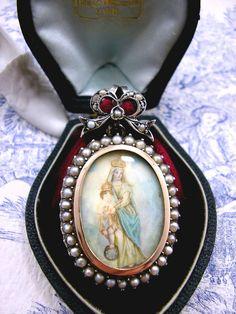 Antique Georgian Mourning Locket Miniature c1825. Rare Piece
