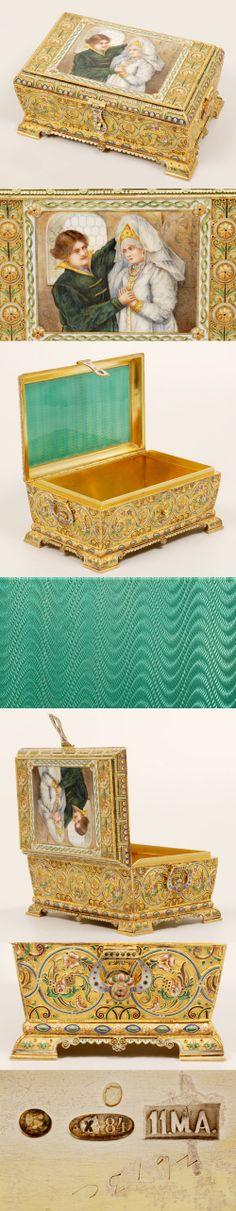 A Russian silver gilt, shaded cloisonne, and en plein enamel casket,