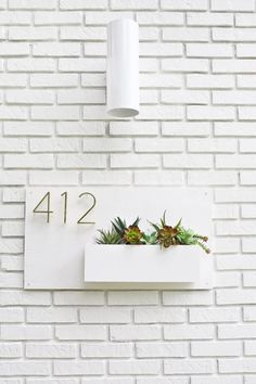 Modern House Number Planter