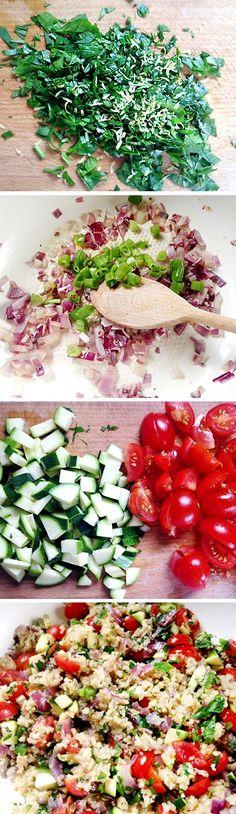 Recept quinoa - zdravý se spoustou zeleniny - DIETA.CZ Raw Food Recipes, Healthy Recipes, Healthy Food, Quinoa, Polenta, Cobb Salad, Food And Drink, Diet, Bulgur