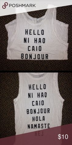 """Hello tank top By the brand word of mouth multiple languages saying the word """"hello""""/ not an actual wild fox tank top Wildfox Tops Tank Tops"""