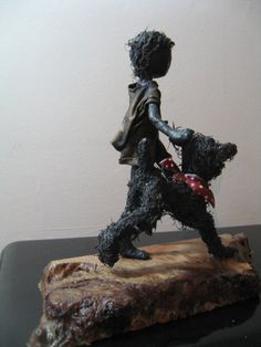Walkies! Boy with dog sculpture Made to order