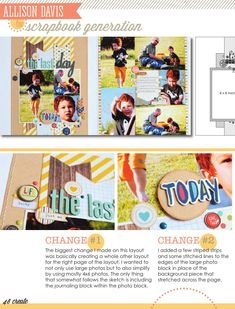 CREATE: Issue March 2015 Scrapbook pages, cards, embellishments and more featuring Scrapbook Generation's exclusive sketches. Baby Boy Scrapbook, 12x12 Scrapbook, Scrapbook Sketches, Scrapbook Generation, 13 March, Stitch Lines, Photo Sketch, Multi Photo, Simple Stories