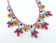Neon Painted Rhinestone Necklace Fuchsia Turquoise by LasSmartArts,