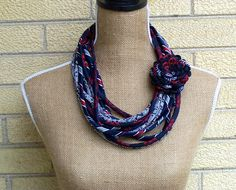 Upcycled Necktie Necklace Recycled Mens Tie Circle Scarf by Klosti, $50.00