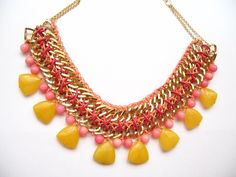 Chain Necklace with Yellow Jade and Coral Stones  by PelinAksesuar, $39.00