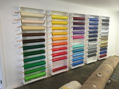 CNC cut vinyl racks - roll holders cut here in house for our new office filled with 3M vinyl