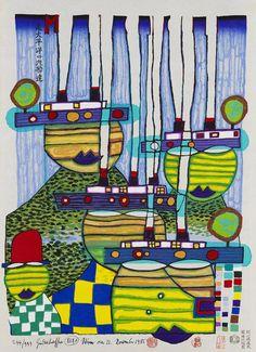 Bildergebnis für friedensreich hundertwasser 936 the 30 days fax painting Hundertwasser Art, Friedensreich Hundertwasser, Gustav Klimt, Montreal, Abstract Expressionism, Abstract Art, Modern Art, Contemporary Art, Joan Mitchell