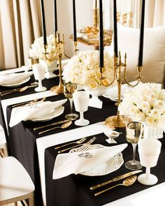 Black candles and whites flowers>>> Black, White and Gold Table Setting - Art Deco Wedding Style - Vintage Wedding Wedding Decorations, Table Decorations, Table Centerpieces, Wedding Centerpieces, Christmas Decorations, Feather Centerpieces, Black And Gold Centerpieces, Elegant Centerpieces, White Vases
