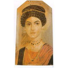 Roma. Retrato funerario El Fayun. Pendientes crotalia, cadena de eslabones y de cuentas, adorno para el pelo