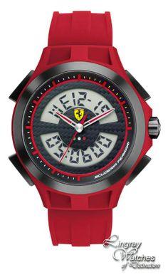 Scuderia Ferrari Mens Rubber Ani/Digi SF 102 Lap Time Watch - 0830019  Online price: £175.00  www.lingraywatches.co.uk