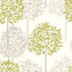 Boulevard Green (417904) - Arthouse Wallpapers - A pretty dappled leaf all over tree design with a hand drawn style and metallic inks. Shown here in shades of fresh green and beige on cream. Please request sample for true colour match.