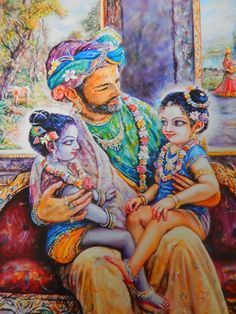 Krishna, Balaram, and their father King Nanda, by Puskar, from the this year's BBT calender