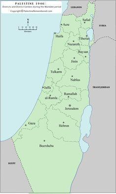 Palestina 1947 Distrito y Centros District - Palestina Remembered