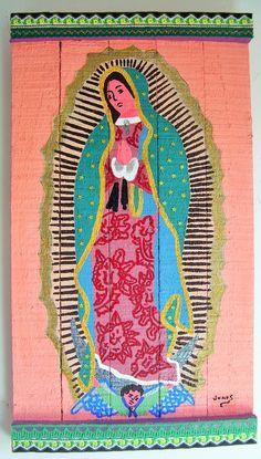 """""""Virgen de Guadalupe"""" Acrilico sobre maderas recicladas de """"Reina Mandy Arte Reciclado"""" inforeinamandy@gmail.com"""