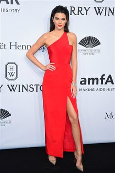 Kendall Jenner arrives at the 2015 amfAR New York Gala at Cipriani Wall Street in New York on Feb. 11, 2015.