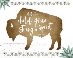 Buffalo - Tribal Boys Nursery Print with Bible Verse - Boho Boys Nursery Décor with Buffalo