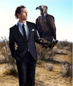 "McConaughey and Friend. ""Rare is the portrait that can't be improved upon with the addition of a large bird of prey. Matthew McConaughey has, according to Esquire magazine, left behind his years of unseemly partying and shirtless runs along the beach. Here he straps on a little visual gravitas."" Photo by Perou, Esquire, April 2011"