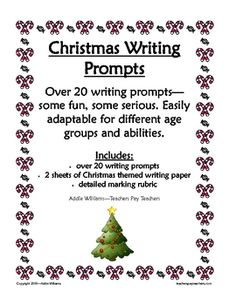 Christmas Writing Prompts, Paper and Rubric