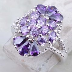 SOLD Stunning Sim Amethyst Silver Ring' is going up for auction at 12pm Sun, Aug 25 with a starting bid of $11.