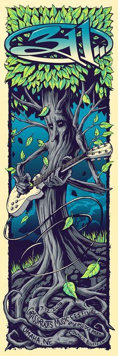 311 Brandon Heart Omaha Grassroots Poster Blue Artist Edition On Sale Details