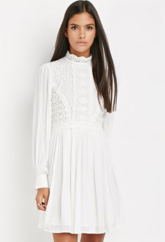 Crocheted High-Neck Victorian Mini Dress