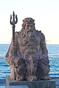 Sea god Neptune at the sea shore in Sochi South Russia
