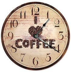"""I LOVE COFFEE CLOCK Unique Clock Large 10.5"""" Wall Clock Decorative Round Wall Clock Home Decor COFFEE BEANS IN HEART SHAPE"""