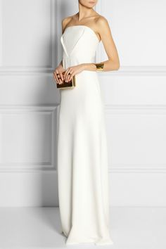 Calvin Klein Collection | Tabata strapless cady gown | NET-A-PORTER.COM maid of honor dresses? white too??