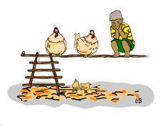 Spreekwoord: met de kippen op stok gaan