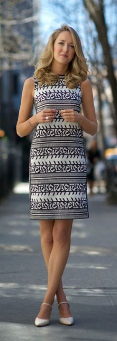 tory burch vine jacquard navy and white sheath dress + ralph lauren nude snakskin maryjane pumps