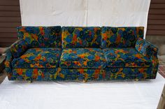 mid century 70's Jack Lenor Larsen Velvet Sofa | From a unique collection of antique and modern sofas at https://www.1stdibs.com/furniture/seating/sofas/
