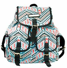 Ladies Aztec Print Backpack Anna Smith Rucksack